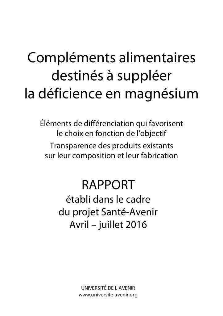 Rapport - Compléments à bas ede magnésium